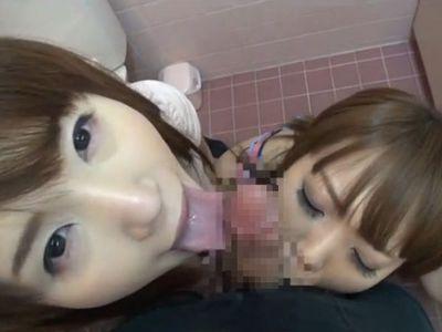カリと玉を同時に舐めるWフェラチオが気持ち良さそうな素人お姉さんの口淫動画www